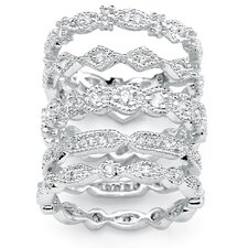 Cubic Zirconia Stackable Ring 5 Piece Set