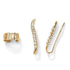 Cubic Zirconia Ear Pins / Cuff Set