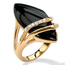<strong>Palm Beach Jewelry</strong> Marquise-Shaped Onyx and Cubic Zirconia Ring
