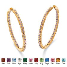 Birthstone Inside-Out Hoop Earrings