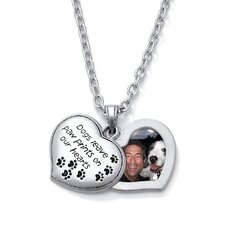 Paw Prints Heart-Shaped Pendant