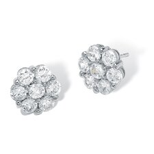 Round Multi-Cubic Zirconia Stud Earrings