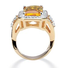 Canary Yellow / White Cubic Zirconia Ring