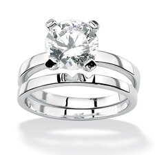 <strong>Palm Beach Jewelry</strong> Round Cubic Zirconia Solitaire Ring Set
