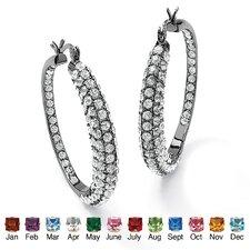 Round Birthstone Hoop Earrings