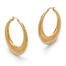 Ribbed Hoop Pierced Earrings