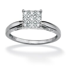 <strong>Palm Beach Jewelry</strong> Round Diamond Pave Princess Ring