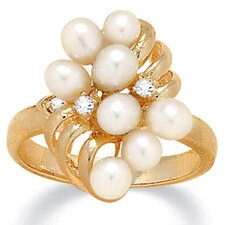 Cultured Pearl / Crystal Ring