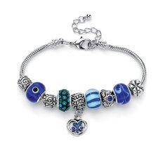 Crystal Bali-Style Charm Bracelet