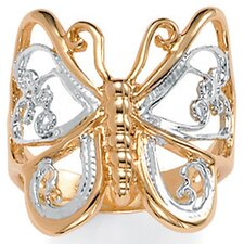 10K Gold Plated Filigree Butterfly Tutone Ring