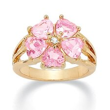 Brass Heart Shaped Cubic Zirconia Ring