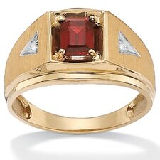 Men's 10k Gold Emerald and Octagon Garnet with Diamond Ring