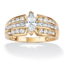 <strong>Palm Beach Jewelry</strong> 10k Gold Marquise Cubic Zirconia Ring