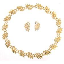 Goldtone Leaf Style Jewelry Set