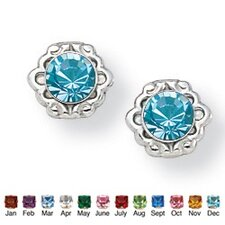 Round Birthstone Earrings