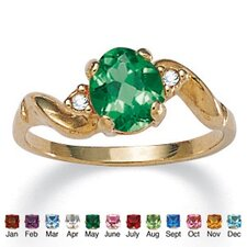 14k Gold-Plated Simulated Birthstone Ring