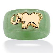 10k Gold Green Jade Elephant Band