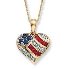 10k Gold Blue Sapphire, Diamond Accents and Lab-Created Ruby Heart-Shaped Patriotic Pendant