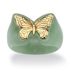 Jade Butterfly Gold Ring