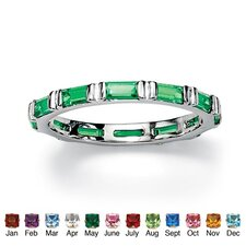 Silver Emerald Birthstone Eternity Band