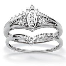 Gold Round Two Piece Diamond Wedding Set