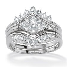 Silver Round Diamond Wedding Ring Set