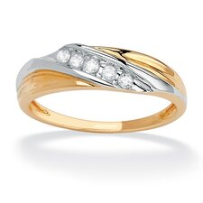 <strong>Palm Beach Jewelry</strong> 10k Gold Round Cubic Zirconia Diagonal Wedding Band Ring