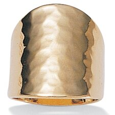 14k Gold Plated Hammered-Style Cigar Band Ring