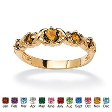 "14k Gold Plated Round Birthstone ""X and O"" Ring"