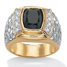 Men's Brass Emerald Onyx Cubic Zirconia Ring