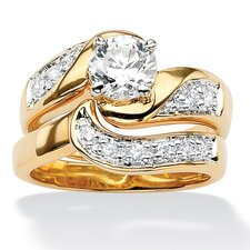 Brass Round Cubic Zirconia Ring Set