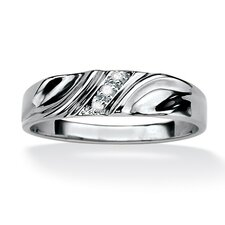 Men's Sterling Silver Round Diamond Accent Wedding Band Ring
