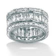 Brass Round Cubic Zirconia Eternity Band Ring