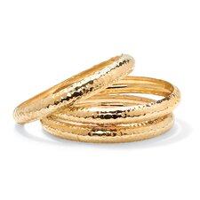 Round Hammered-Style Bangle Bracelet (Set of 3)
