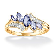 <strong>Palm Beach Jewelry</strong> Sterling Silver Round Tanzanite and Diamond Accent Ring