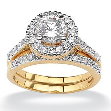 Brass Round Cubic Zirconia Wedding Ring Set