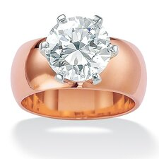 <strong>Palm Beach Jewelry</strong> Brass Round Cubic Zirconia Solitaire Ring
