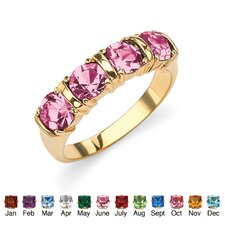 Birthstone Brass Round Channel Ring