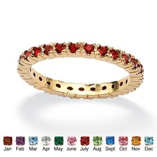 <strong>Palm Beach Jewelry</strong> Birthstone Brass Round Eternity Band Ring