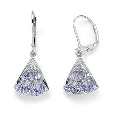 Round / Pear and Single Tanzanite and Diamond Fan-Shaped Earrings