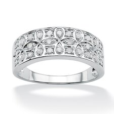 <strong>Palm Beach Jewelry</strong> Sterling Silver Round Ice Diamond Cross Loop Ring