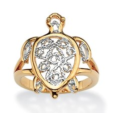 Filigree Brass Turtle Ring