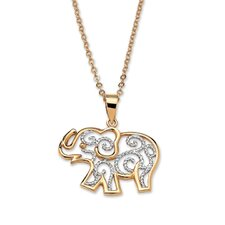 <strong>Palm Beach Jewelry</strong> Filigree Elephant Pendant and Chain