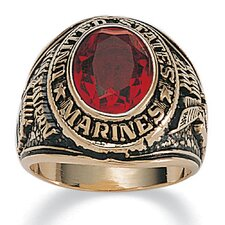 <strong>Palm Beach Jewelry</strong> Men's 14K Gold Plated Oval Crystal Marines Ring