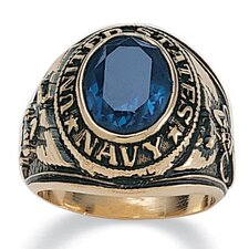 Men's 14K Gold Plated Oval Crystal Navy Ring