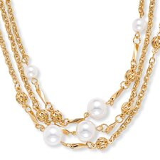 Goldtone Simulated Cultured Pearl Necklace