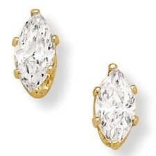 14K Gold Plated Marquise Cubic Zirconia Earrings