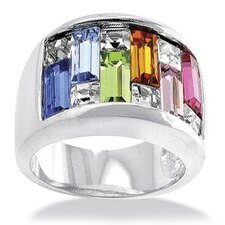 Silvertone Princess and Square Crystal Ring