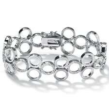 <strong>Palm Beach Jewelry</strong> Cubic Zirconia Circle Platinum/Sterling Silver Bracelet