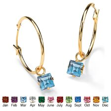 <strong>Palm Beach Jewelry</strong> Birthstone Charm Hoop Earrings